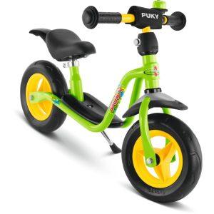 Puky springcykel i kiwi-grönt med praktiska stänkskärmar